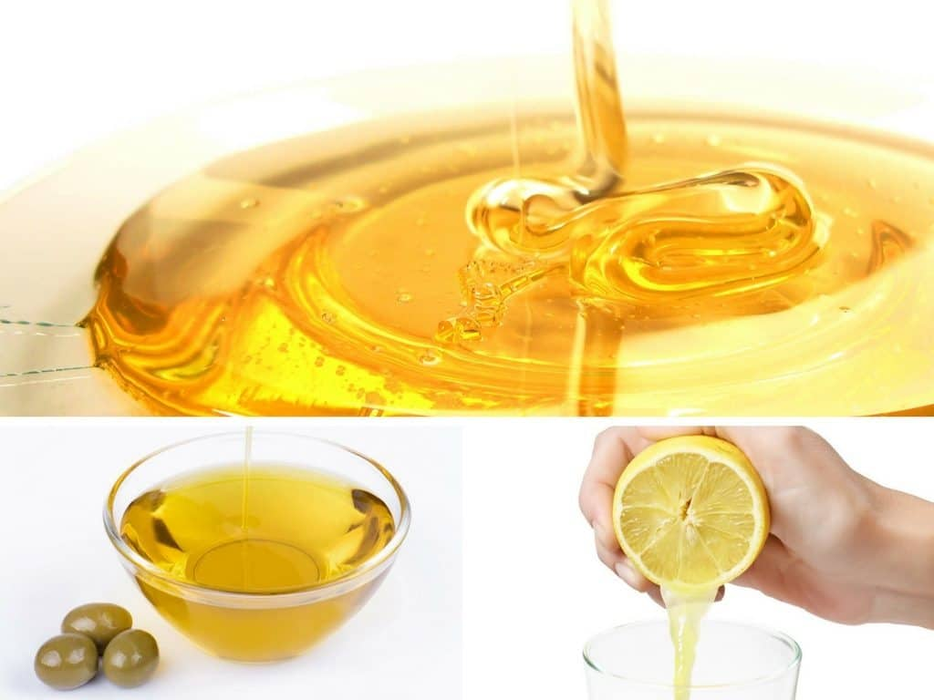 Lemon juice, honey, olive oil face mask