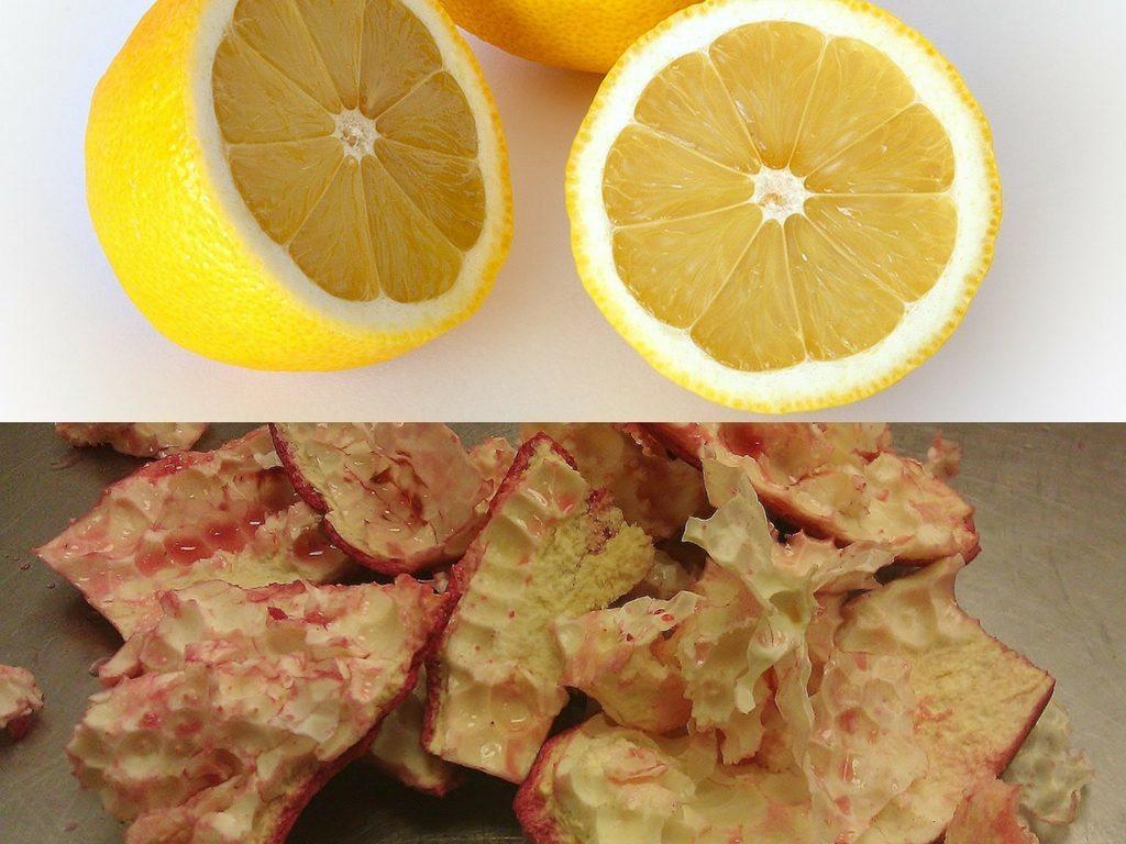 Lemon juice and pomegranate peel